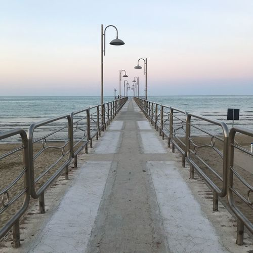 Vasto Adriatic Sea Italy Abruzzo Adriatic Sea Photography Sea Water Sky Horizon Over Water Horizon Beauty In Nature Scenics - Nature Nature The Way Forward Direction Street Light Tranquil Scene Diminishing Perspective Street Land Tranquility Railing Pier Beach Outdoors