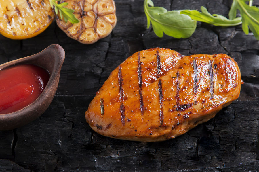 Grilled Chicken Fillet Barbecue Barbecue Grill Chicken Fillet Close-up Condiment Dinner Focus On Foreground Food Food And Drink Freshness Grilled Healthy Eating High Angle View Indoors  Kitchen Utensil Meat No People Preparing Food Ready-to-eat Sauce Savory Sauce Still Life Vegetable Wellbeing White Meat