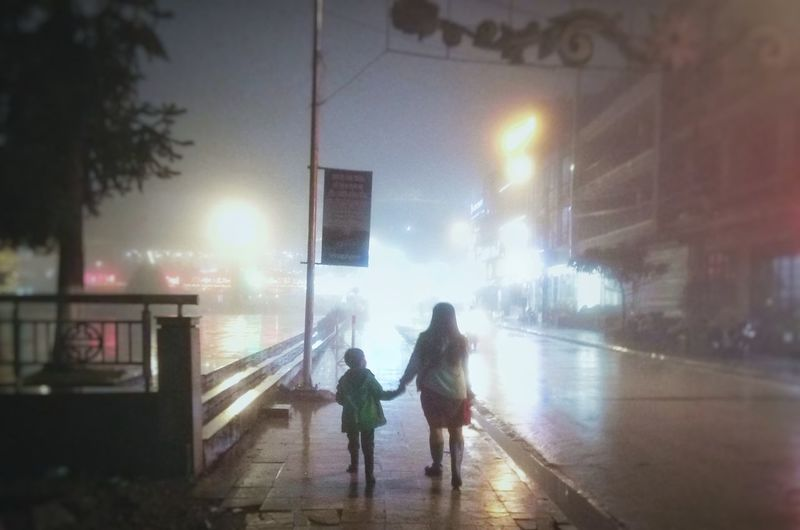 Foggy Foggy Night Foggy Night With Street Lights Foggy Night Photography Vietnam Lao Cai, Vietnam Sa Pa 🇻🇳 Vietnam Warm Clothing Full Length Women Water Togetherness City Rear View Winter Sky Rainy Season Foggy Wet Rainfall Rainfall Rain Weather Raincoat Torrential Rain