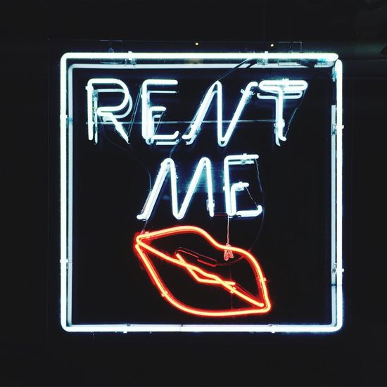 Trendy for rent sign. NYC New York Neon Sign Lips Kiss For Rent