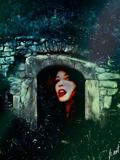 EyeEmNewHere Vampire Horror Mouth Open One Person Screaming Spooky Halloween Shouting Beauty Photoart Night Hotgirl One Woman Only Scenery Stonestructures Women Red Lips Mysterious Scary Looking Scary Young Adult Beautiful Woman Nature Fantasy Let's Go. Together. Lost In The Landscape