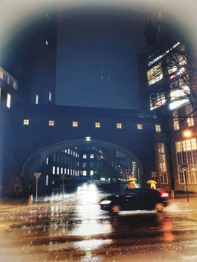Night Architecture Illuminated Built Structure Transportation Building Exterior Mode Of Transport Car Land Vehicle City Water Motion Outdoors From My Point Of View Rain 1 Nov