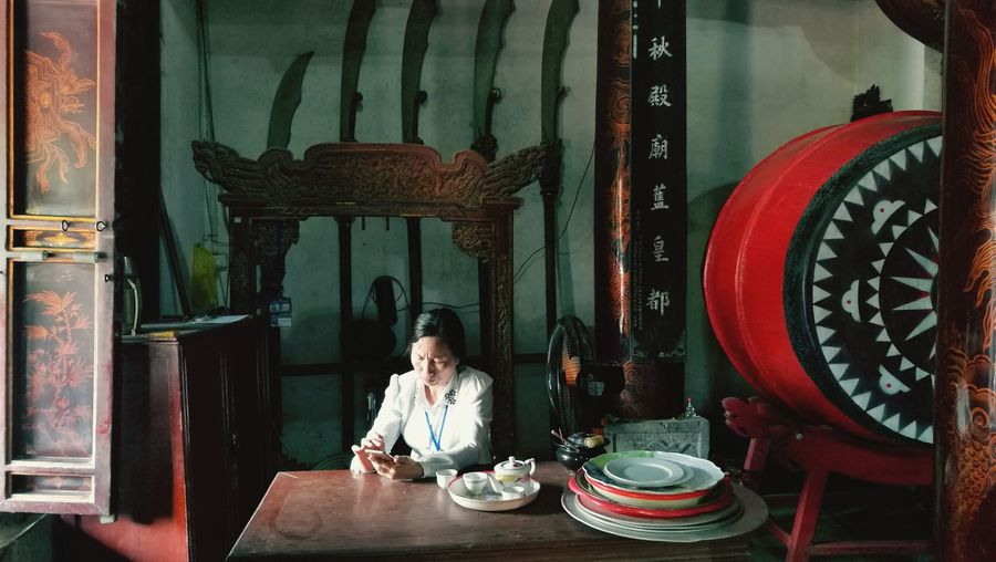 EyeEm Selects One Person One Woman Only Indoors  Table Sitting Only Women Adult Vietnam Buddhist Temple Museum