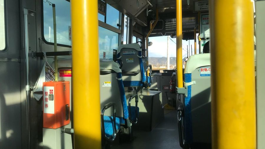 Travel Buss Japan Indoors  No People Industry Technology Yellow Equipment Connection Public Transportation Transportation