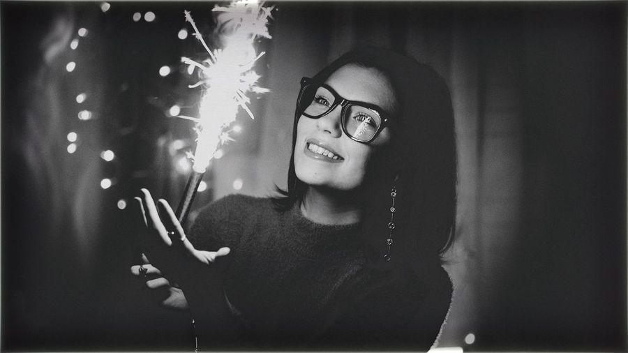 Eyeglasses  Real People Portrait Looking At Camera Indoors  Lifestyles One Person Home Interior Women Young Adult Working Young Women Close-up Night People Adult Glasses Leisure Activity Bokeh Brunette Makeup Fireworks Birthdaygirl Smile Smiling