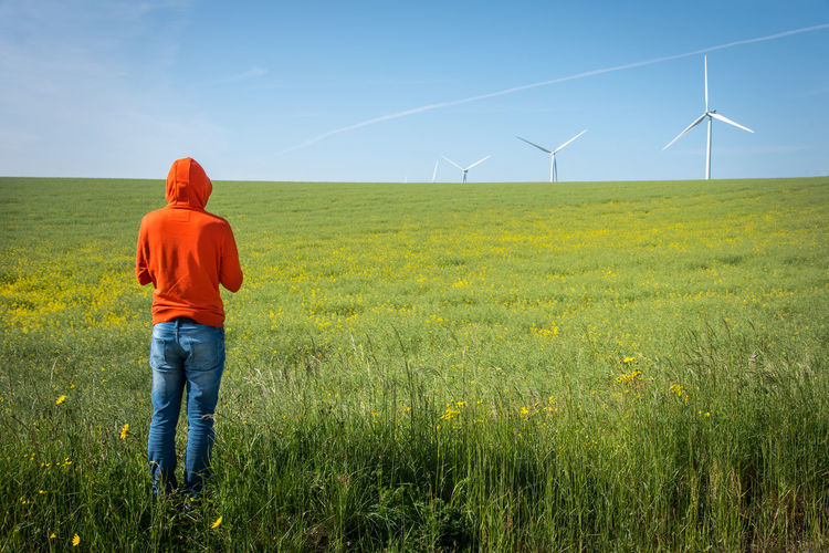 Rear view of man standing at farm against windmills