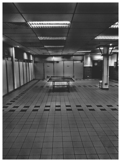 Indoors  No People Tabletennis Outdoors Pingpongtable Blackandwhite Photography Abandoned Empty Space Dull Moment Tiles Textures Moment Minimalist Photography