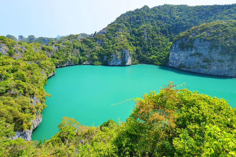 landscape bird eye view of angthong national marine park koh samui Angthong National Marine Park Beauty In Nature Blue Day Holiday Idyllic Landscape Landscapes Mountain Nature Nautical Vessel No People Outdoors Refraction Samui Scenics Sky Thailand Travel Destinations Tree Water