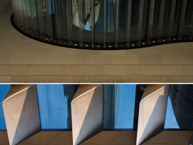 The Galley Bloomberg Building Rowing Rowing Boat Architecture Arts Culture And Entertainment Blue Built Structure Close-up Creativity Day Galley Glass - Material High Angle View Modern No People Pattern Reflection Shape Tile Tiled Floor Transparent Wall - Building Feature