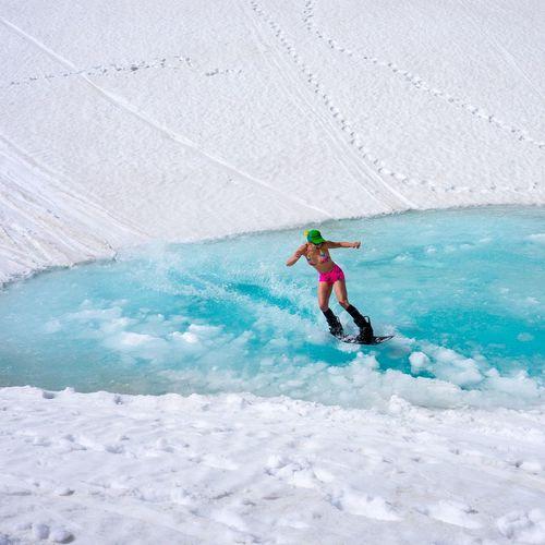 first female Fountain Of Youth pond skim! Snowboarding Pond Skim Bikini