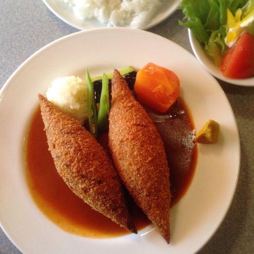 lunch @ ブラジレイロ☻相変わらずフォトジェニックなメンチカツ。 Photogenic  福岡 ブラジレイロ メンチカツ 洋食 Lunch Yummy♡ Fukuoka,Japan