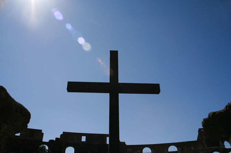 Cross in the Coliseum (Coliseum), Roma Ancient Anfiteatro Christian Coliseum Colosseum Cross Famous Italy Light Pope Rome Seeing The Sights Sunny The Colosseum, Rome Tourist Attraction  Travel