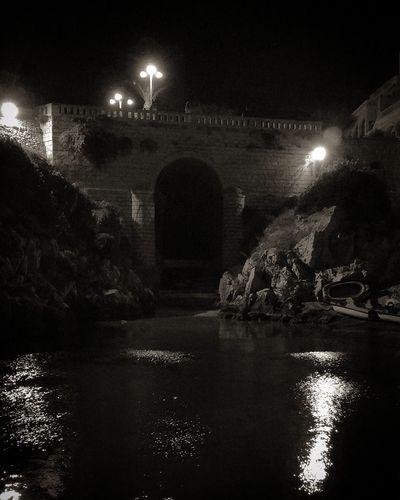 Night Illuminated Arch Water Outdoors No People City Salento Mare Sea Notte Night Castro Castromarina Italia Italy Puglia Estate Summer Estate2017 Summer2017 Biancoenero Blackandwhite