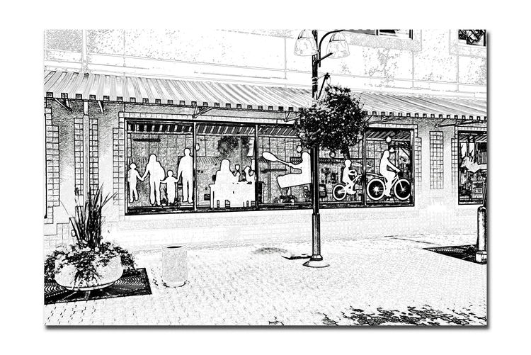 Window Display Art 2 Silhouettes Figures Jack London Square Store Front Windows Monochrome Photograhy Monochrome Art Urban Life Urban Photography Street Life Lifestyles Sidewalks Building Awning Lamppost Abstract Photography Abstract Chalk Edit Black & White Black & White Photography Black And White Collection  Black And White Reflections In The Windows Flower Planters