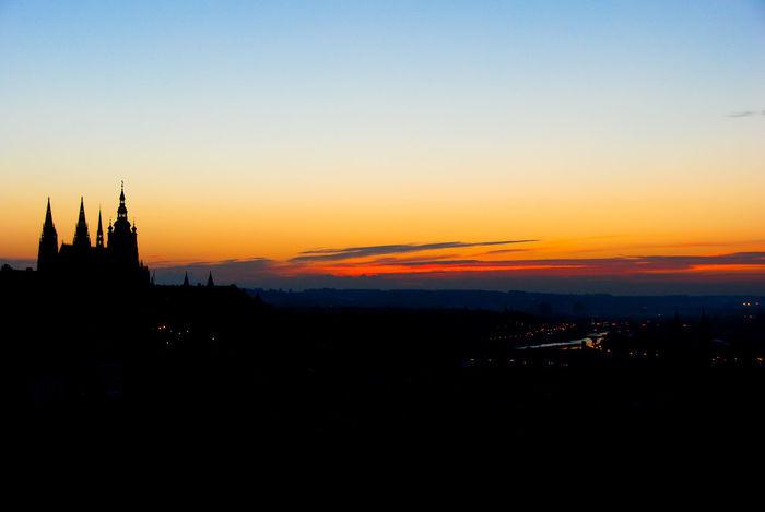 Prague in sunrise Travel Destinations Tourism Silhouette Landscape Scenics No People Sky Outdoors Urban Skyline Architecture Sunrise Prague Prague Czech Republic Prague Castle (Pražský Hrad) Prague