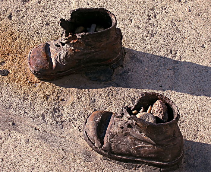 Jews Bronze Children Shoes Crimea Death Famous Honoring Jewish Killed Memories Pain Executed Extermination Holocaust Inocents Jewelry Massacre Pair Pest Remembering Régime Shoes Tribute Victims World War II