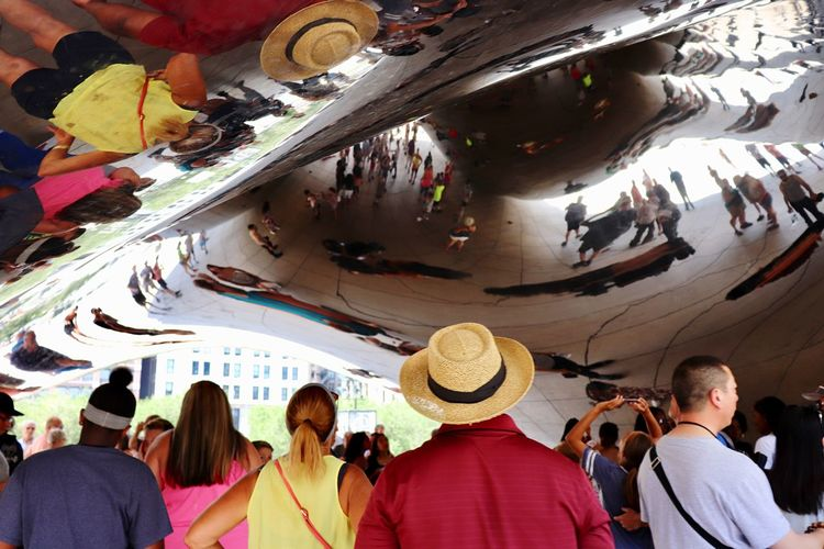 Mirrors Looking Up Group Of People Crowd Large Group Of People Real People Adult Women Men Lifestyles Leisure Activity Architecture City Built Structure Arts Culture And Entertainment Enjoyment Tourism Travel Illuminated City Life