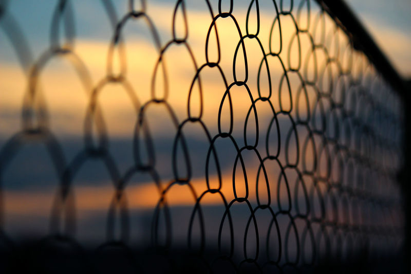 Blue Sky Cloud And Sky EyeEm Gallery Fence Getting Inspired Golden Moments  Skyporn Sunset And Silhouette  Sunset Collection Taking Pictures Wire Mesh Fence