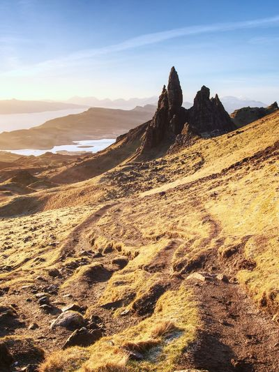 Famous exposed rocks old man of storr, north hill in isle of skye island of highlands in scotland