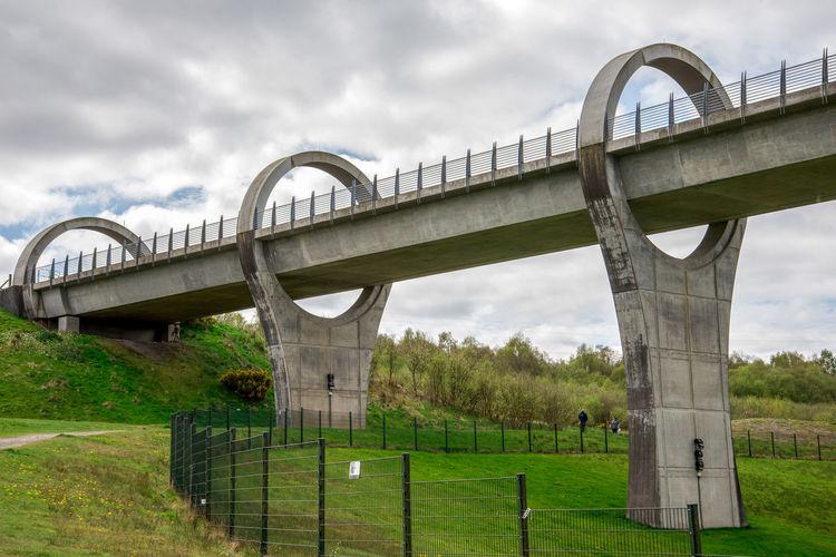 View of bridge on field against sky