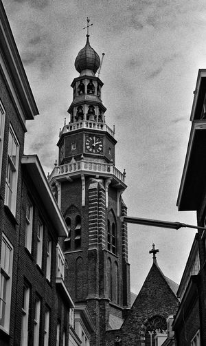 Overschie 1976 1976 Overschie Rotterdam Sovjet Camera Zenit E Architecture B&w B&w Photography Belief Building Building Exterior Built Structure City Cloud - Sky Kerktoren Van Overschie Low Angle View Nature No People Outdoors Religion Spire  Spirituality The Past Tower Travel Destinations