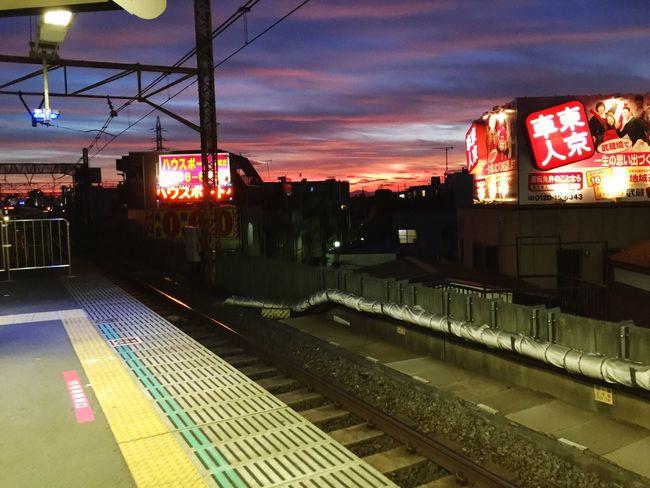 Pink Blue Sky Sunset Railway Train Station Sky Japan Photography