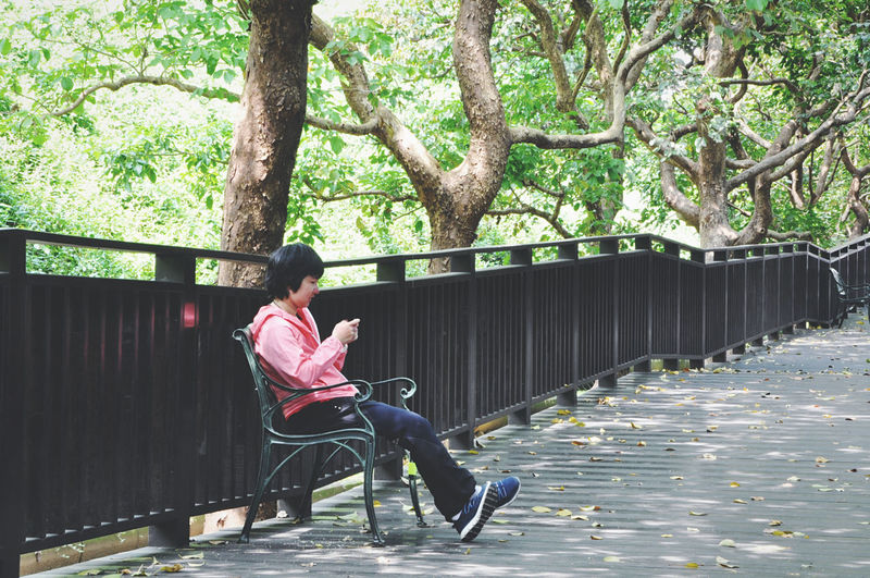 Boy sitting on bridge against trees