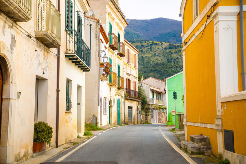 Italy Sicily Architecture Building Exterior Built Structure Building The Way Forward Direction Residential District Mountain City Road Day No People Street House Window Nature Transportation Town Outdoors Sky Alley Row House
