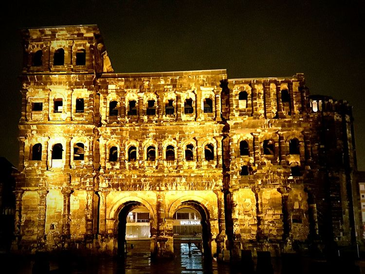Architecture Travel Destinations History Arch City Tourism Night Building Exterior Cultures No People Outdoors Porta Nigra Trier, Germany's Oldest City Trier City Trier Porta Negra Trier Black