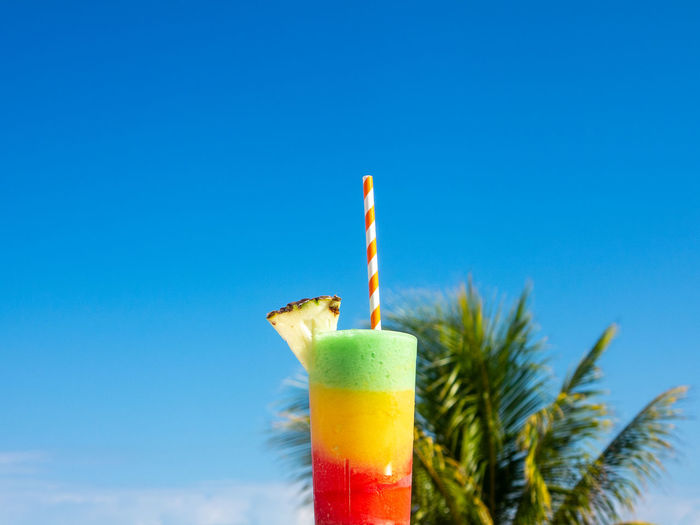 Multicolored cocktail with Palm and Blue Sky Background Drinking Straw Blue Drink Food Refreshment Copy Space No People Drinking Glass Cocktail Caribbean Carribean Life Straw Clear Sky Tropical Palm Multi Colored Red Yellow Green Food And Drink Close-up Sky