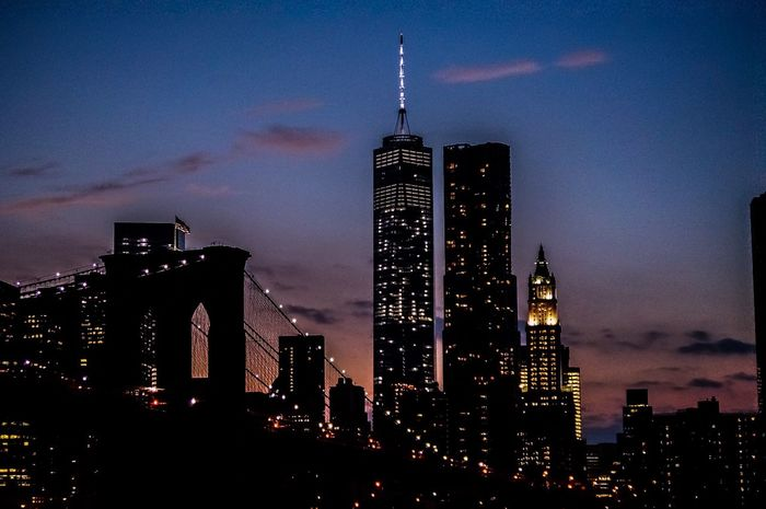 Wanderlust Cityscapes NYC Photography NYC Skyline Brooklyn Bridge / New York Nightphotography Clouds And Sky New York Skyline Beauty In Ordinary Things