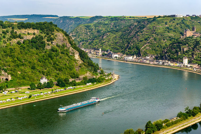 View from Lorelei Loreleyfelsen St. Goarshausen Lorelei River Rhein Water Transportation Nautical Vessel High Angle View Nature No People Outdoors Travel River Rhein Loreley Tourism Vantage Point Tourist Attraction  Fluss Rheinland-Pfalz  Mode Of Transportation Green Color Summer