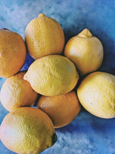 High angle view of oranges