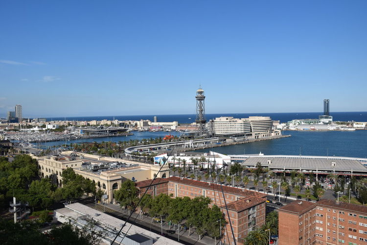Barcelona cableway in the port Barcelona Mediterranean  Architecture Building Exterior Built Structure City Cityscape High Angle View Mode Of Transportation Outdoors Sea Sky Transportation Water