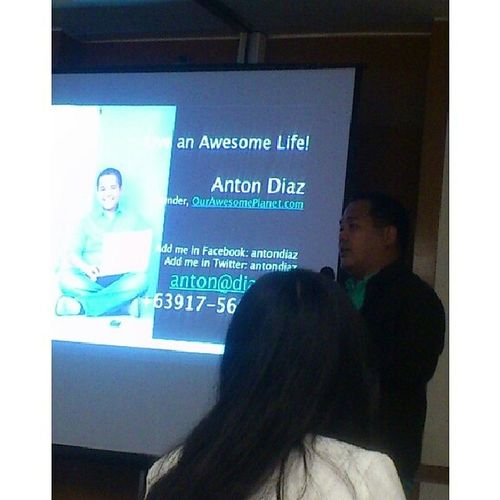 @antondiaz Founder of OurAwesomePlanet.com talks about Turning Passion into Profession. Awesome Life Day5 Markprof CoolTalk Evolution Entrepreneurship TrendSetting Community Marketplace Philippines