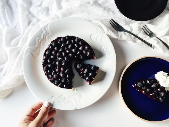 Blueberry Blueberry Pie Dessert Food Styling Freshness High Angle View Human Hand Pastry Pie Plate Ready-to-eat Serving Size Sweet Food Table Temptation