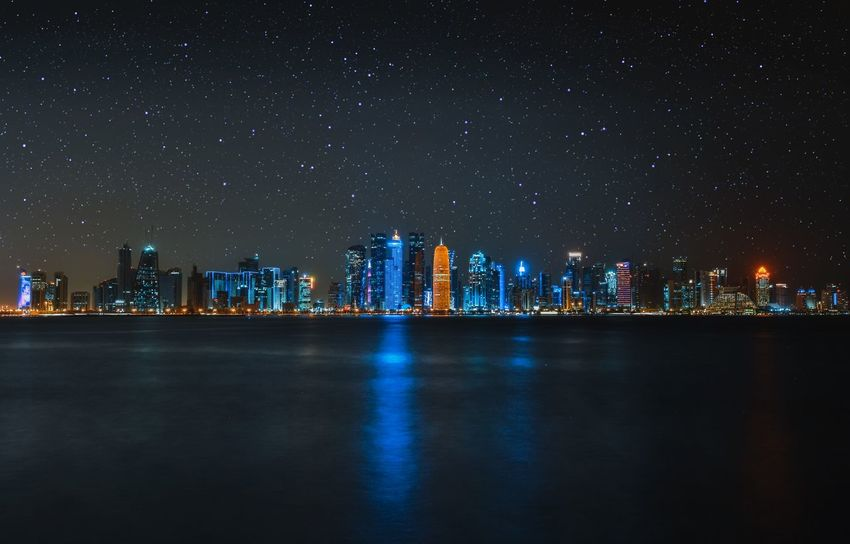 Skylines Doha Night Architecture Built Structure Building Exterior City Building Illuminated Star - Space Skyscraper Water Cityscape Sky Residential District Office Building Exterior Landscape Waterfront No People Urban Skyline Nature Space Architecture City Cityscape Nature Reflection