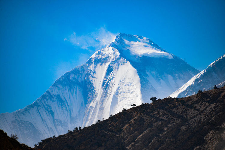 Annapurna Conservation Area Nature Trekking Beauty In Nature Blue Cold Temperature Environment Formation Glacier Ice Landscape Mountain Mountain Peak Mountain Range Nature No People Outdoors Rock Scenics - Nature Sky Snow Snowcapped Mountain Tranquility Wilderness Winter