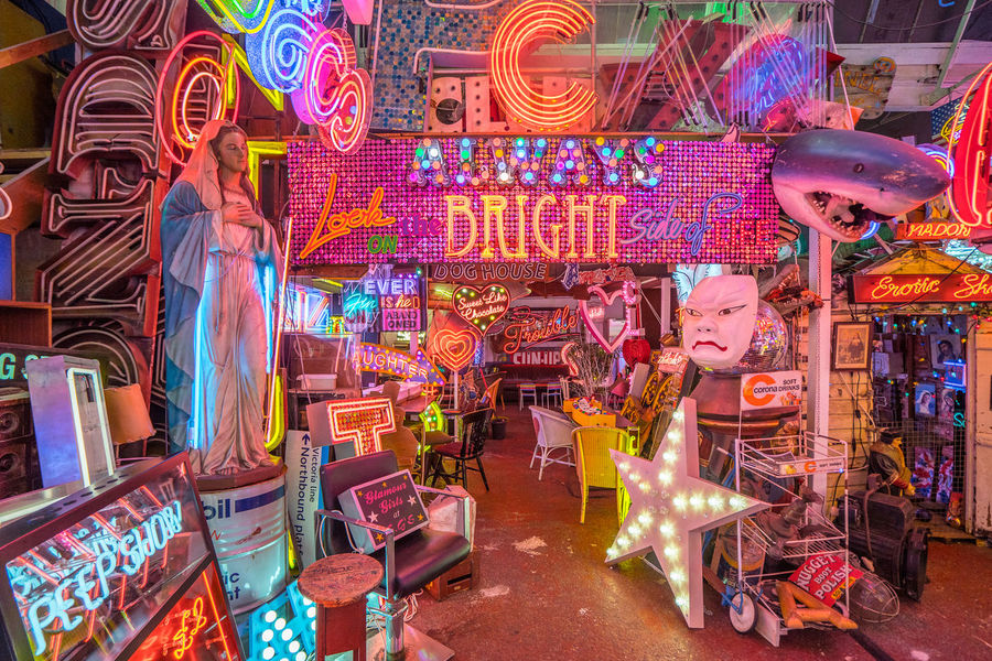 Neon signs and decorations at God's Own Junkyard in Walthamstow, London. Bright Colors Colourful Neon Signs City Lighting Multi Colored Neon Neon Lights Urban Urban Lighting