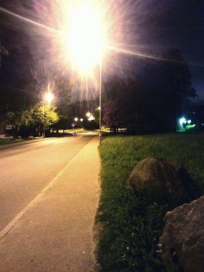 Cities At Night Suburb Street Squared Sidewalk