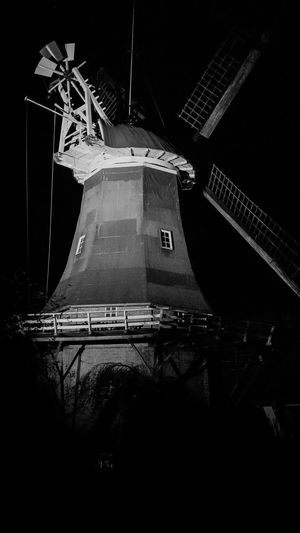 Architecture Black & White Black And White Blackandwhite Lowlight Lowlightphotography Mill Mill Wheel Night No People Old Buildings Old Town Wind Windmill Building Exterior My Year My View