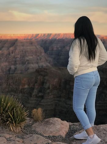Go for it, no matter what it takes...just go and see what happens. ✨ Nature Rock - Object Rear View Scenics Beauty In Nature Landscape Tranquility Real People Travel Destinations Sunset Desert Women Day One Person Mountain Tranquil Scene Full Length Arid Climate Outdoors Physical Geography