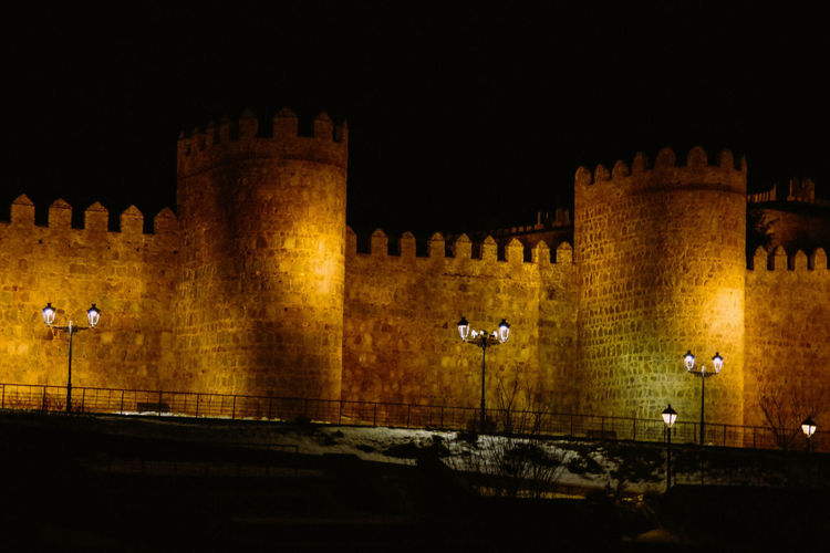 View of fort at night