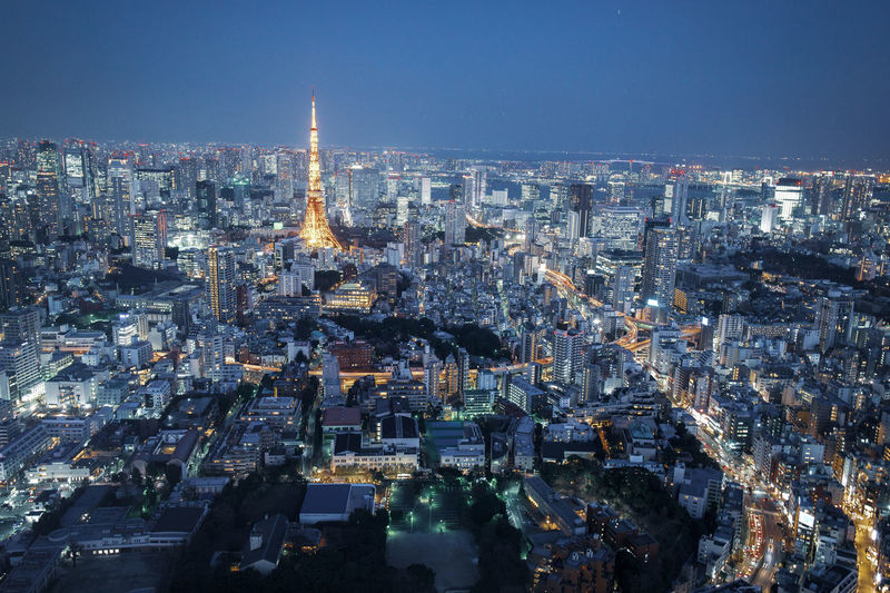 Japan tokyo high angle view of city lit up at night