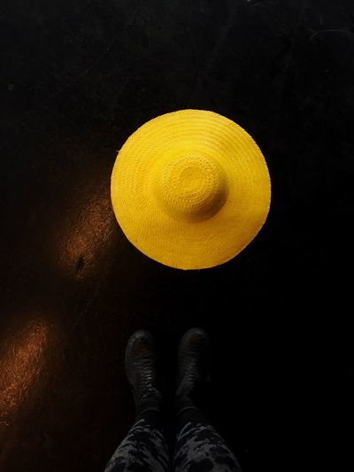 Ready for tomorrow's Goodfeelography portrait workshop at the EyeEm Festival & Awards. Real People One Person Shoe Yellow Directly Above Human Leg Human Body Part Men Indoors  Low Section Close-up Black Background Nature Day Hat Paint The Town Yellow
