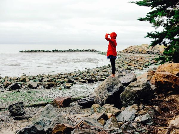 Searching Looking Out Waiting Lost Wander Girl Raincoat Red Alone Stranded