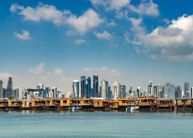 Sky Water Built Structure Architecture Building Exterior City No People Outdoors Doha Qatar Corniche Dhaw Sambuk Westbay Skyline Nautical Vessel Sea Gulf