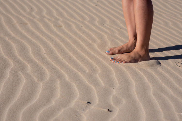 Pedi Sand Land Beach Human Body Part barefoot Body Part Pattern Nature Vacations Trip Low Section FootPrint Holiday Human Leg One Person Day Leisure Activity Human Foot High Angle View Human Limb
