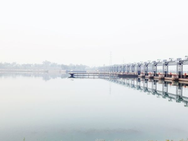 #water #reflection #dakpathar Reflection Morning Bridge - Man Made Structure Water Bank Place To Visit Reservoir Fog Nautical Vessel Copy Space