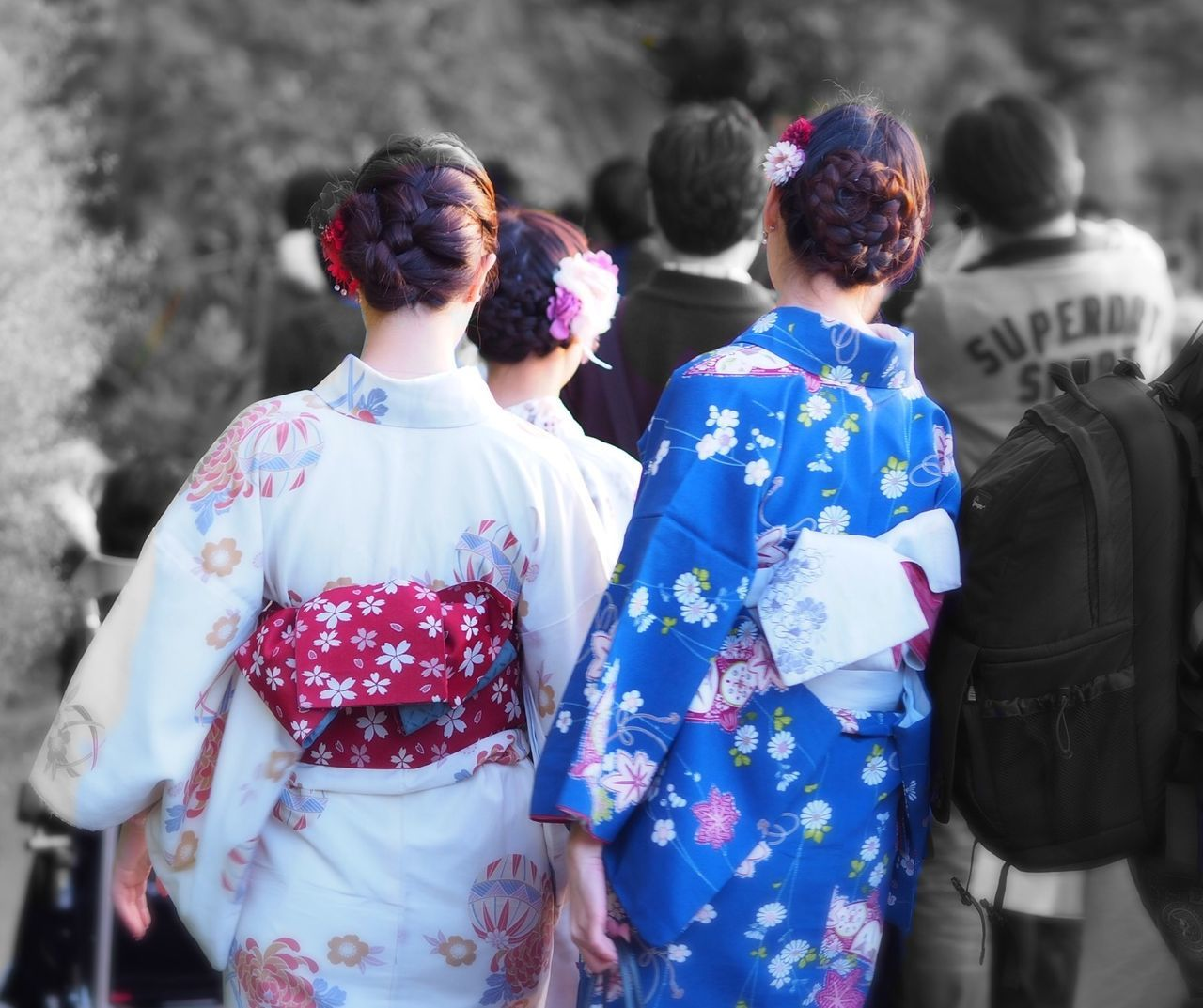 rear view, real people, traditional clothing, kimono, women, togetherness, celebration, day, outdoors, ceremony, men, groom, bride